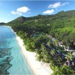 Seychellen - Hilton Labriz mit traumahftem Strand - Ansicht Hilton Labriz Silhouette Seychellen - Pool Villen mit Privatspäre
