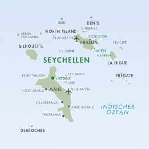 Seychellen Karte - Landkarte Seychellen - Mahé, Praslin, La Digue, Silhouette - Verbindungen mit Inlandflug oder Boot bzw Schiff einfach und unkompliziert