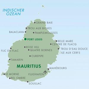 Landkarte Mauritius - Karte Mauritius - Reiseziel Mauritius - Lage der Hotels