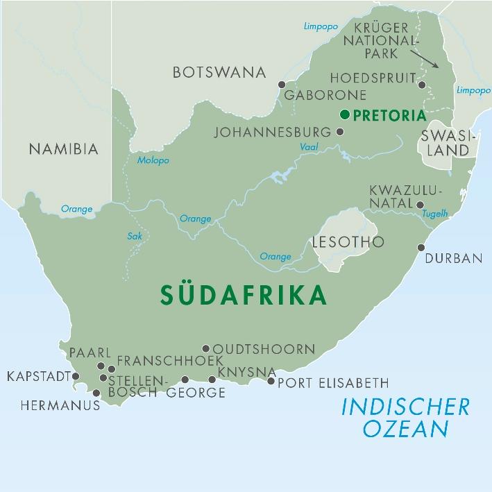Südafrika - Karte für Rundreise -