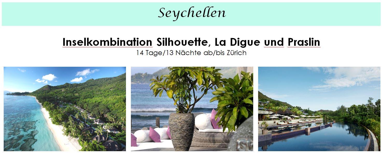 Ferien Seychellen - Inselkombination Seychellen mit Silhouette, La Digue und Praslin