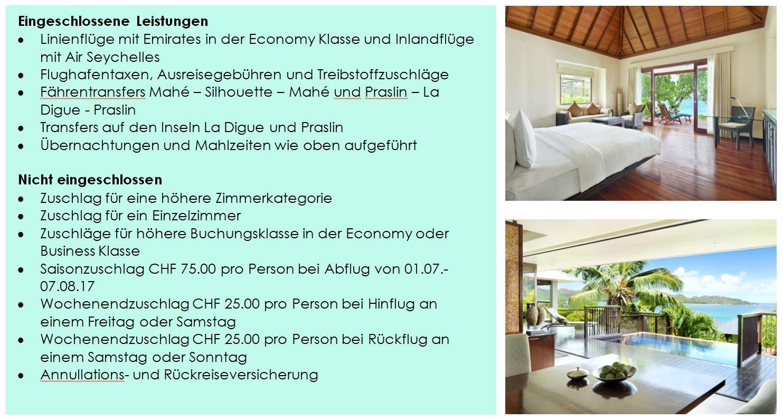 Angebot für Ferien Seychellen - Leistungen Hotel und Flug - Transfers La Digue und Praslin