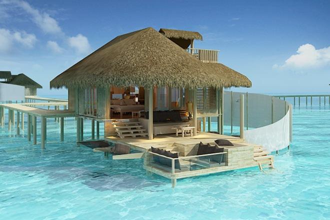 Malediven Luxus Resort - Wasservillen - Wasserbungalow