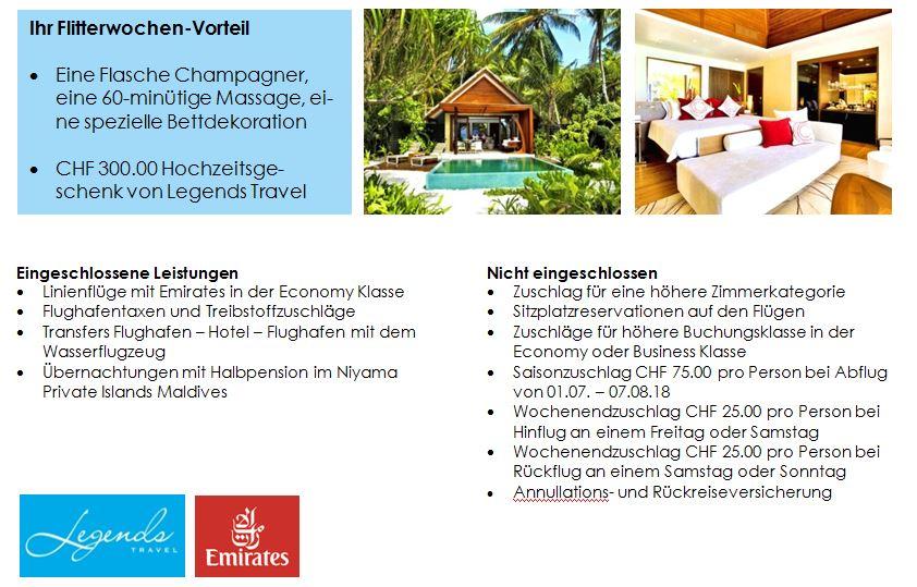 Hochzeitsreise Malediven - Flitterwochen Malediven