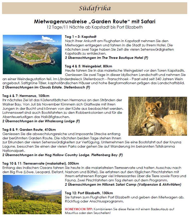 Südafrika Honeymoon - Flitterwochen Südafrika - Safari Hochzeitsreise - Honeymoon Safari - Rundreise in Südafrika